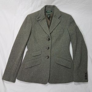 RL Olive Green Wool Tweed Hacking Blazer Size 2